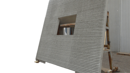 Wall panel with raking made with Weckenmann circulation line equipment